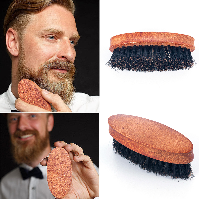 8cm Natural Boar Bristle Beard Brush For Men Bamboo Face Massage That Works Wonders To Comb Beards and Mustache Drop shipping(China)