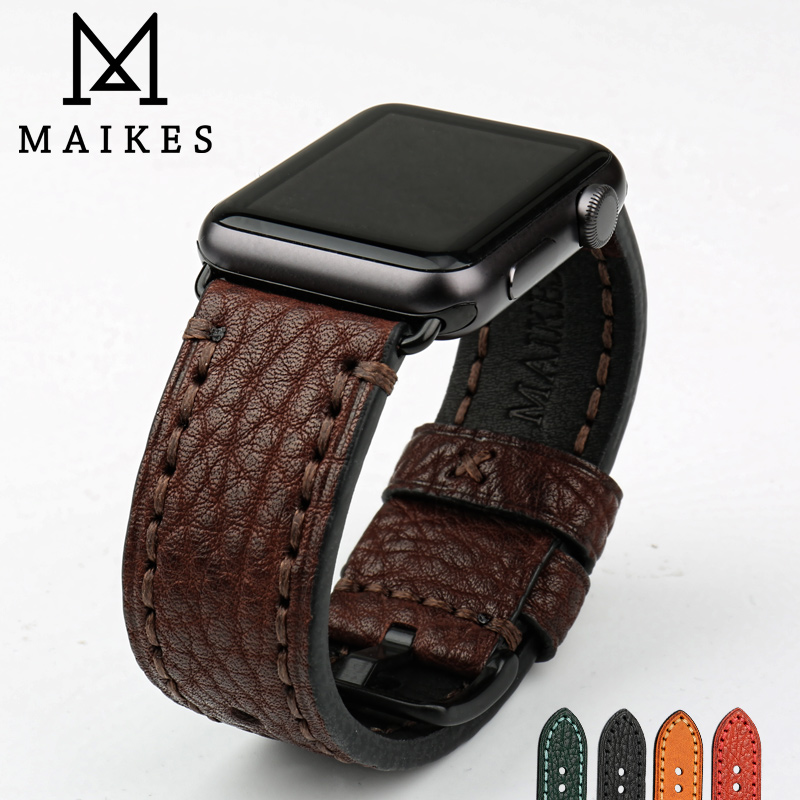 MAIKES Watch Accessories Genuine Leather Watch Strap Replacement For Apple Watch Band 44mm 40mm 42mm 38mm IWatch Watchband