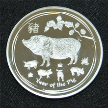 5pcs/lot free shipping PIG Lunar Year Series 1 Oz Silver Coin 1$ Australia 2019