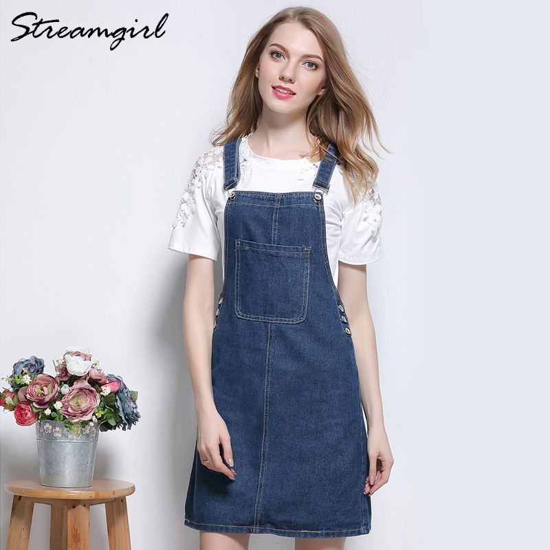 Streamgirl Frauen Denim Strap Rock Plus Größe Taschen Sommer Kurze Röcke Womens Jean Rock Mini Denim Strap Weibliche Jupe Femme