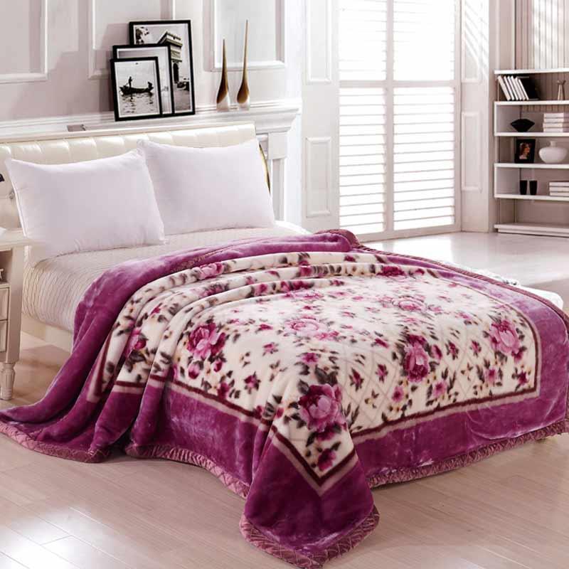 Raschel Blanket Queen/King Soft Warm Winter Blanket Flannel Fleece Sofa Throws King Size Linens Multifunctional Bedsheet  R-328