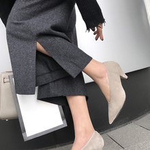 INS hot women Genuine Leather shoes cow leather Sheep suede pumps professional office career European and American brand