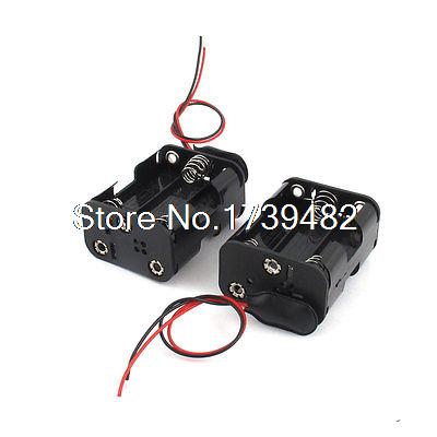 2 Pcs Black Double Side 2-Wire 6 x 1.5V AA Battery Holder Storage Case Box