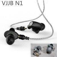 מקורי VJJB N1 כונן יחידה כפולה באוזן מתכת אוזניות HIFI אוזניות סאב בס עם DC כבל ממשק עבור iphone xiaomi