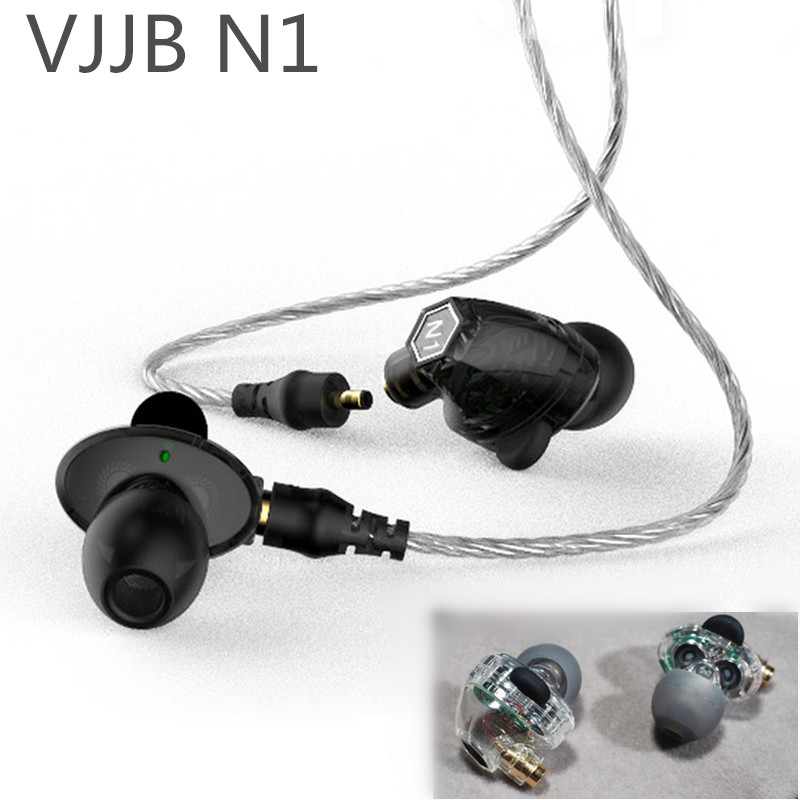 Original VJJB N1 Double Unit Drive In Ear Metal Earphones HIFI Bass Subwoofer Earphone With DC Interface Cable for iphone xiaomi