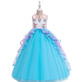 Latest  Ballgown Sky Blue Tulle  Long  Birthday Party Dress  Formal Party Evening  Dress  First Communion Dresses modern ballgown champagne flower girl dresses for wedding tulle birthday party dress formal party evening dress