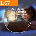 1.67 Índice de Índice UV 400 Anti Blue Ray Revestimento Verde Lentes de Resina Anti Radiação Anti Fadiga Lente para Os Olhos