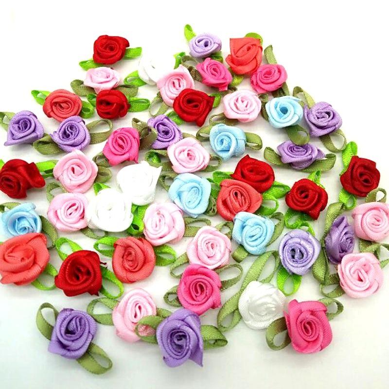 White Rose Handmade 40mm Satin Rose Ribbon Flowers DIY Wedding Bouquet Applique