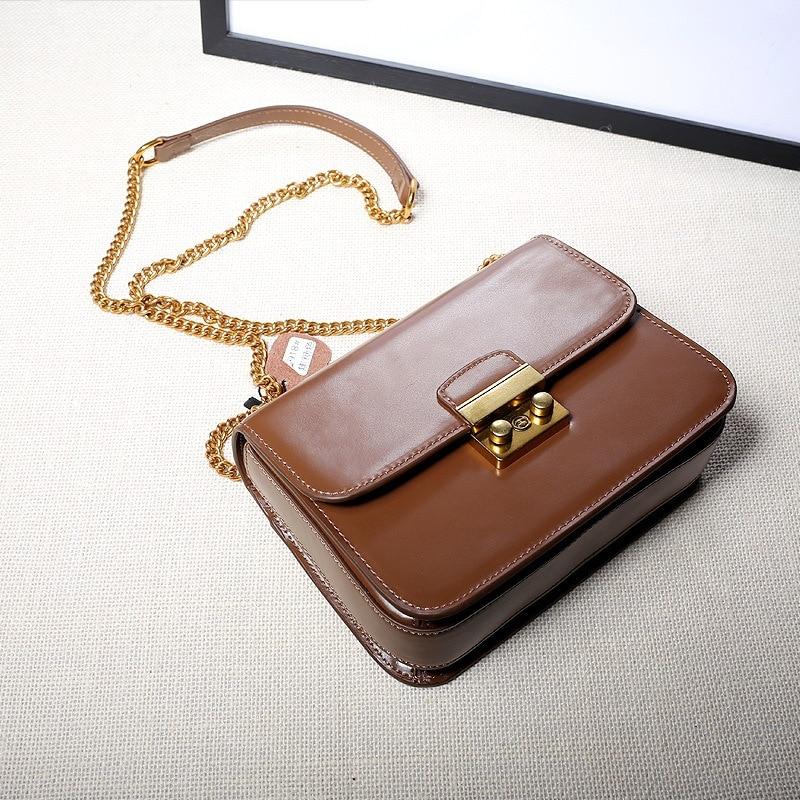 ФОТО Fashion Brand Genuine Leather Women's Handbag Bag Chain Small Crossbody Bags Vintage Cowhide Women Messenger Shoulder Bag Flap