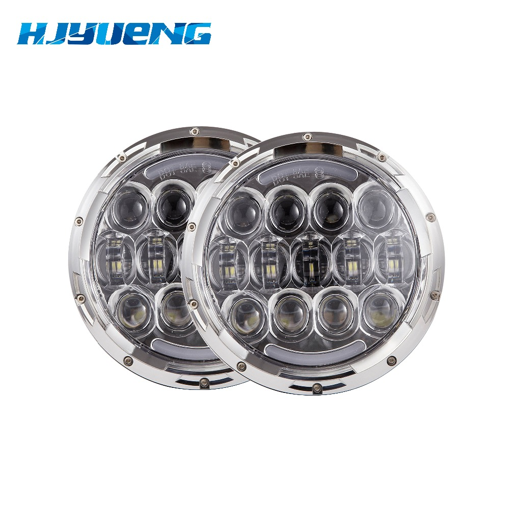 105W For Nissan Patrol 60 Led Headlights Hi/Lo Beam with DRL & Amber Turn Signal Lights for Jeep Wrangler JK TJ LJ Hummer H1 H2