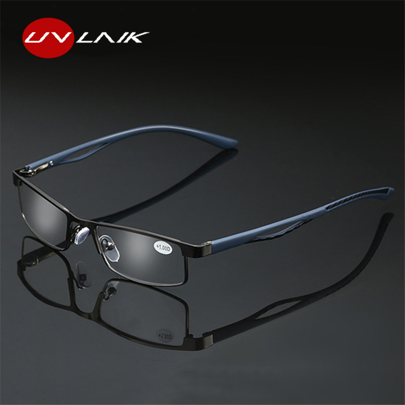 UVLAIK Vintage Reading Glasses Women Men Retro Alloy Prescription Eyewear Rectangle Business Hyperopia Presbyopia Eyeglases