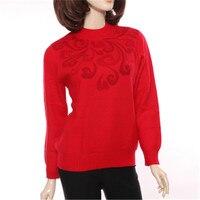 100% козья кашемировая водолазка толстой вязки Женская мода бисер жаккард пуловер свитер красный 2 вида цветов L 3XL Розничная и оптовая продаж