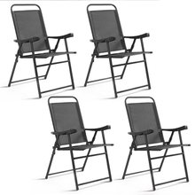 4pcs Folding Garden Patio Chairs Chaise Lounge Sling Chairs with Armrest Outdoor Furniture HW54417(China)