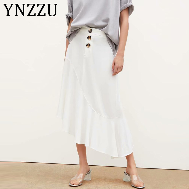 YNZZU Elegant High Waist White Skirts Womens 2019 Chic Irregular Ruffle Buttons Female Long Skirt jupe femme Women Bottoms AB188