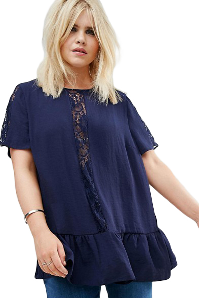 a1dae029fae 2018 New Arrival Summer Women s Fashion Navy White Plus Size Smock Top with Lace  Insert LGY250772-in Tank Tops from Women s Clothing   Accessories on ...