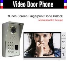9″ Monitor LUXURY Pure Aluminum Alloy Housing Fingerprint Code Password Unlock Video Door phone Intercom IR Camera Doorbell