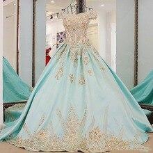 Baby Blue Saudi Arabisch Formale Kleid Prom Appliques Bogen Vintage Perlen Abendkleider Boot-ausschnitt Lace Up Puffy Ball kleider