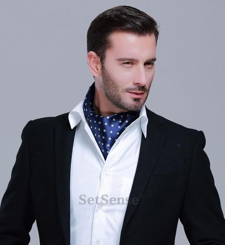 HISDERN Mens Ascot Houndstooth Dot Jacquard Woven Gift Cravat Tie and Pocket Square Set