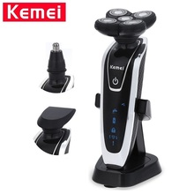 Kemei 3 in1 Washable Electric Shavers Razor 5D Replaceable Alternate Floating Heads Men Shaving Machine Face Care