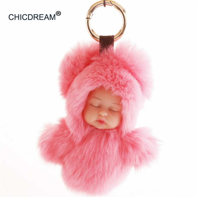 7d666b6c76 Lovely Sleeping Baby Doll Key Chain Real Rex Rabbit Fur Keychain Fluffy Pom  Pom Charm Holder