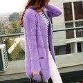 Médio-longo lã marinho solto decoração bloco de cor cardigan mohair camisola outerwear feminino