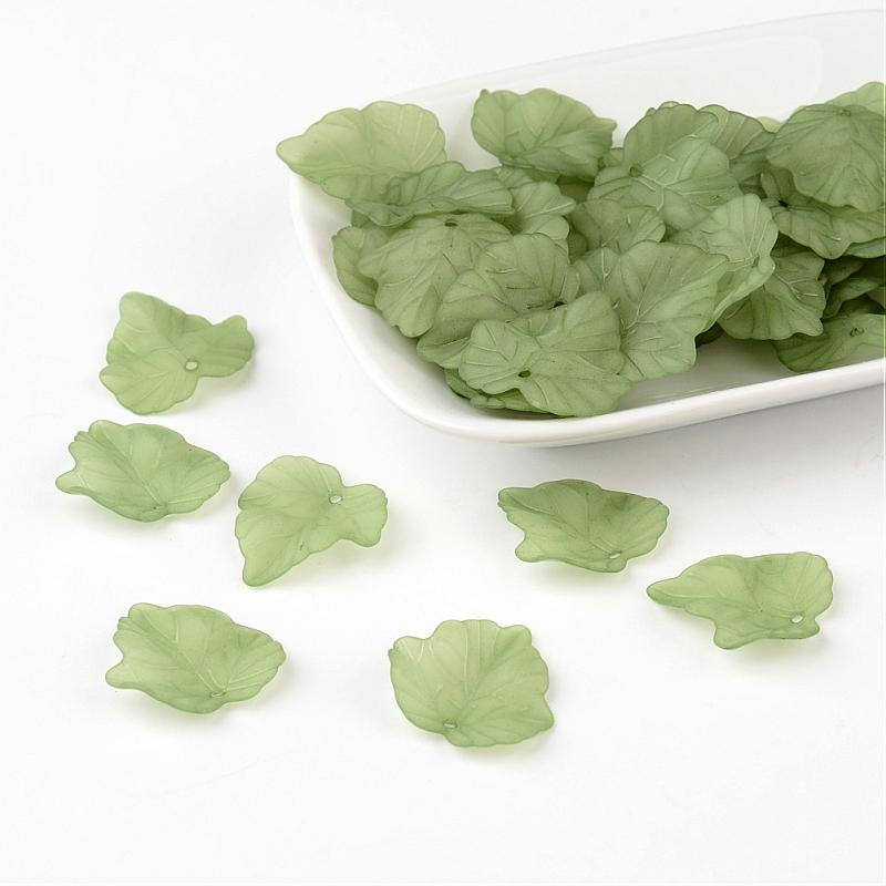 Frosted Transparent Acrylic Grape Leaf Pendants,  Green,  about 24mm long,  22.5mm wide,  3mm thick,  hole:1mm