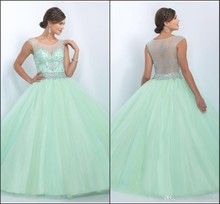 Mint Gorgeous Quinceanera Dresses 2016 New Designer Sheer Neck Ruffles Tulle Fashion Sweet 16 Ball Gown Masquerade Ball Gowns