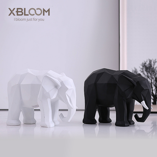 Modern Abstract Black And White Elephant Decorative Animal Statue Geometric Origami Home Decor Furniture Soft