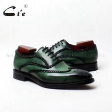 Cie/ ; Goodyear; Мужские модельные туфли-оксфорды ручной работы из натуральной телячьей кожи; темно-зеленые туфли; № OX552