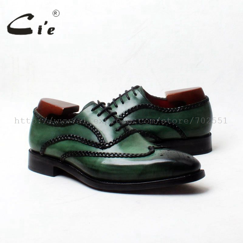 cie Free Shipping Goodyear Welted Custom Handmade Genuine Calf Outsole Leather Men's Dress Oxford Color Dark Green Shoe No.OX552