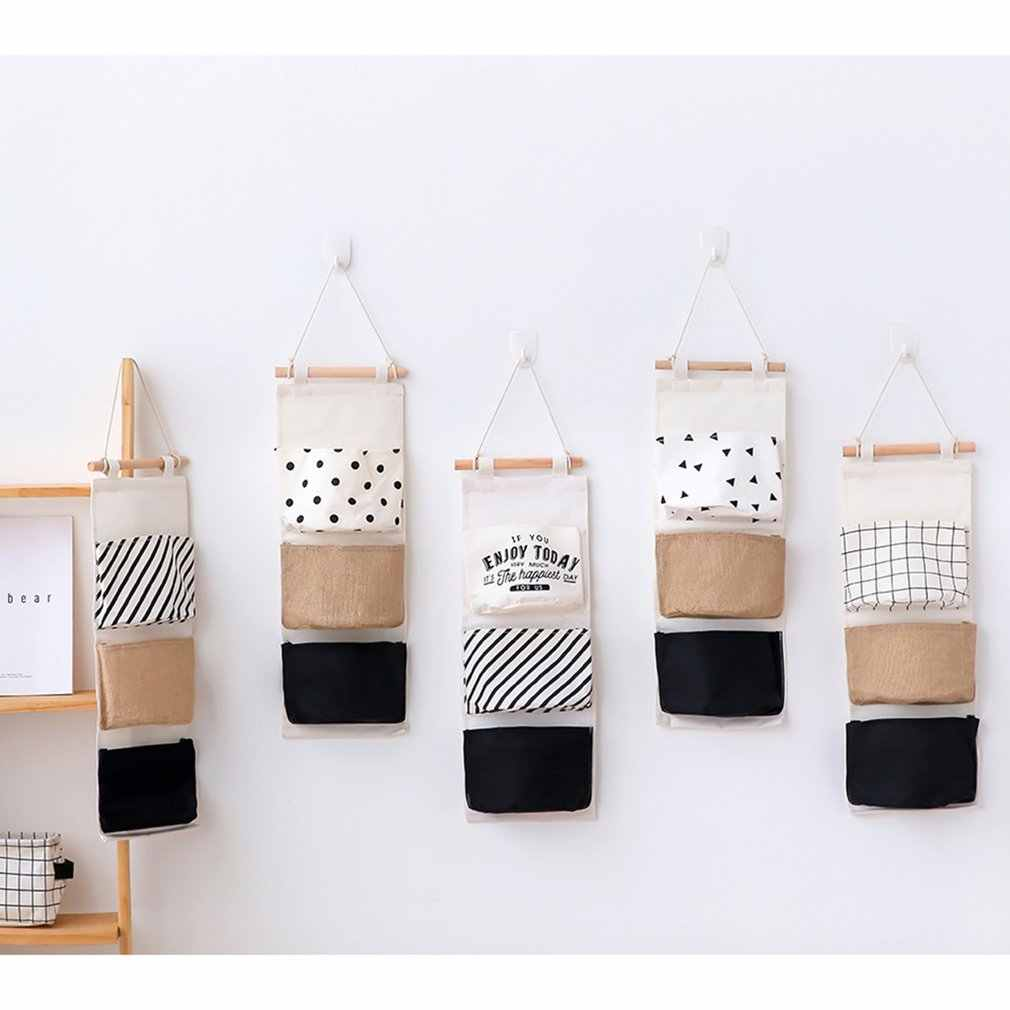 Cotton Linen Hanging Storage Bag 3 Pockets Wall Mounted Wardrobe Hanging Bag Wall Pouch Cosmetic Toys Organizer