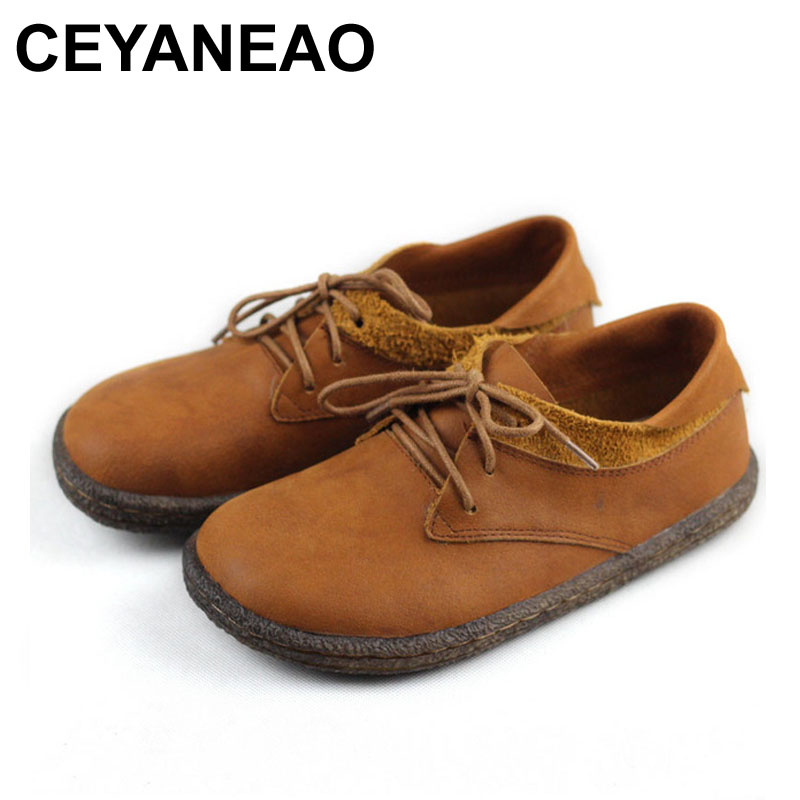 CEYANEAO Women s Shoes Flats 100 Authentic Leather Lace up Women Casual Sneakers Spring Female Footwear