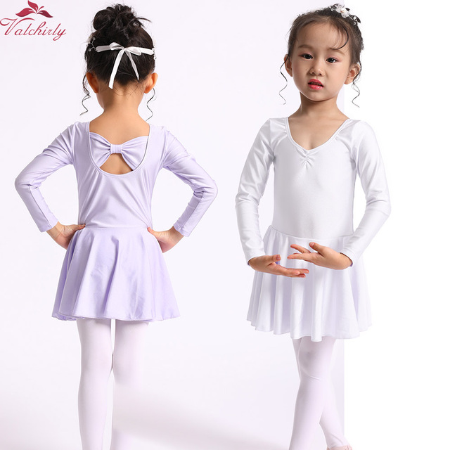 a31d4bc54fd0 Aliexpress.com   Buy Long Sleeve Toddler Leotard White Kids Ballet ...