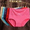 Hot vender melhor qualidade primavera barato sexy ms. cintura alta underwear de fibra de bambu das mulheres chama jacquard calcinhas das meninas cuecas calções