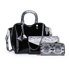 купить 3pcs Women Handbags Bag Set Luxury Designer Serpentine Crossbody Bags Leather Messenger Shoulder Bag Purse Clutch Tote Bolsos по цене 1826.93 рублей