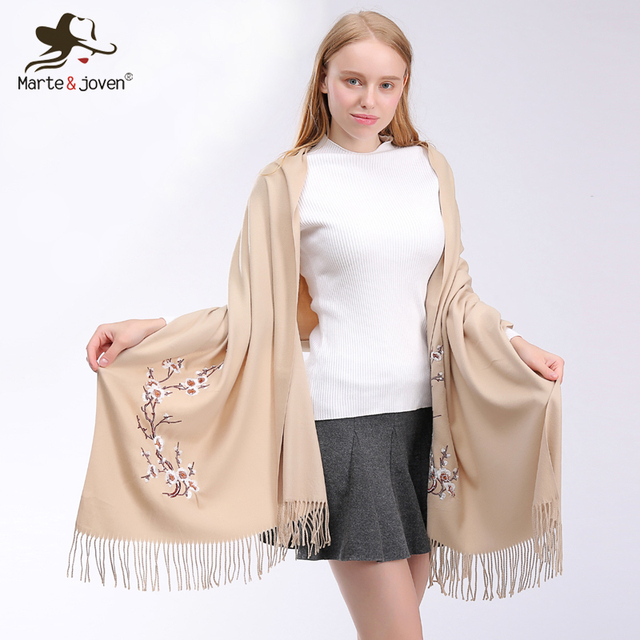9e50f375864a9 Marte&Joven Chinese Style Plum Embroidery Solid Color Imitation Cashmere  Pashmina Scarves Women Warm Winter Tassels Scarf Ladies