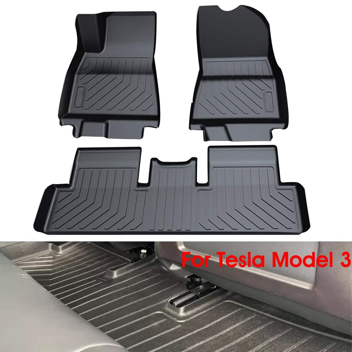 Autoleader 3 pièces TPO noir imperméable à l'eau Durable avant et arrière tapis de sol Auto Anti-poussière tapis de sol portable pour Tesla modèle 3