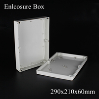 (1 piece/lot) 290*210*60mm Grey ABS Plastic IP65 Waterproof Enclosure PVC Junction Box Electronic Project Instrument Case