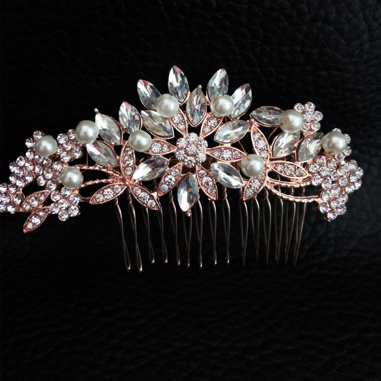 SLBRIDAL Art Deco Rose Gold & Perak Warna Kristal dan Mutiara Bunga - Perhiasan fashion - Foto 2