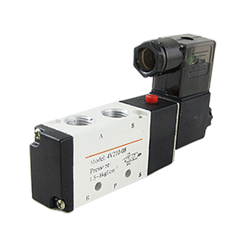 DHDL-4V210-08 DC 24V 2 Position 5 Way Pneumatic Solenoid Valve 4v210 08 pneumatic solenoid valve ac220v pt1 4 two position five way control