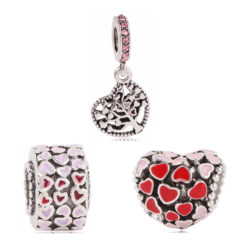 Couqcy Silver Color Pendant Beads For Pandora Charm Bracelet Rainbow Love Bracelets Bead Hollow Heart Charm Women Jewelry