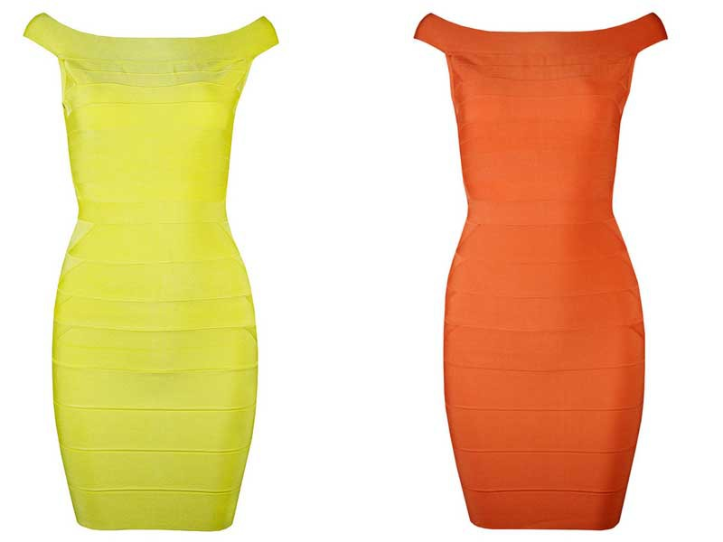 high quality New Dress Yellow and orange Stretch knit High-end atmosphere Cocktail party Bandage dress (L905)