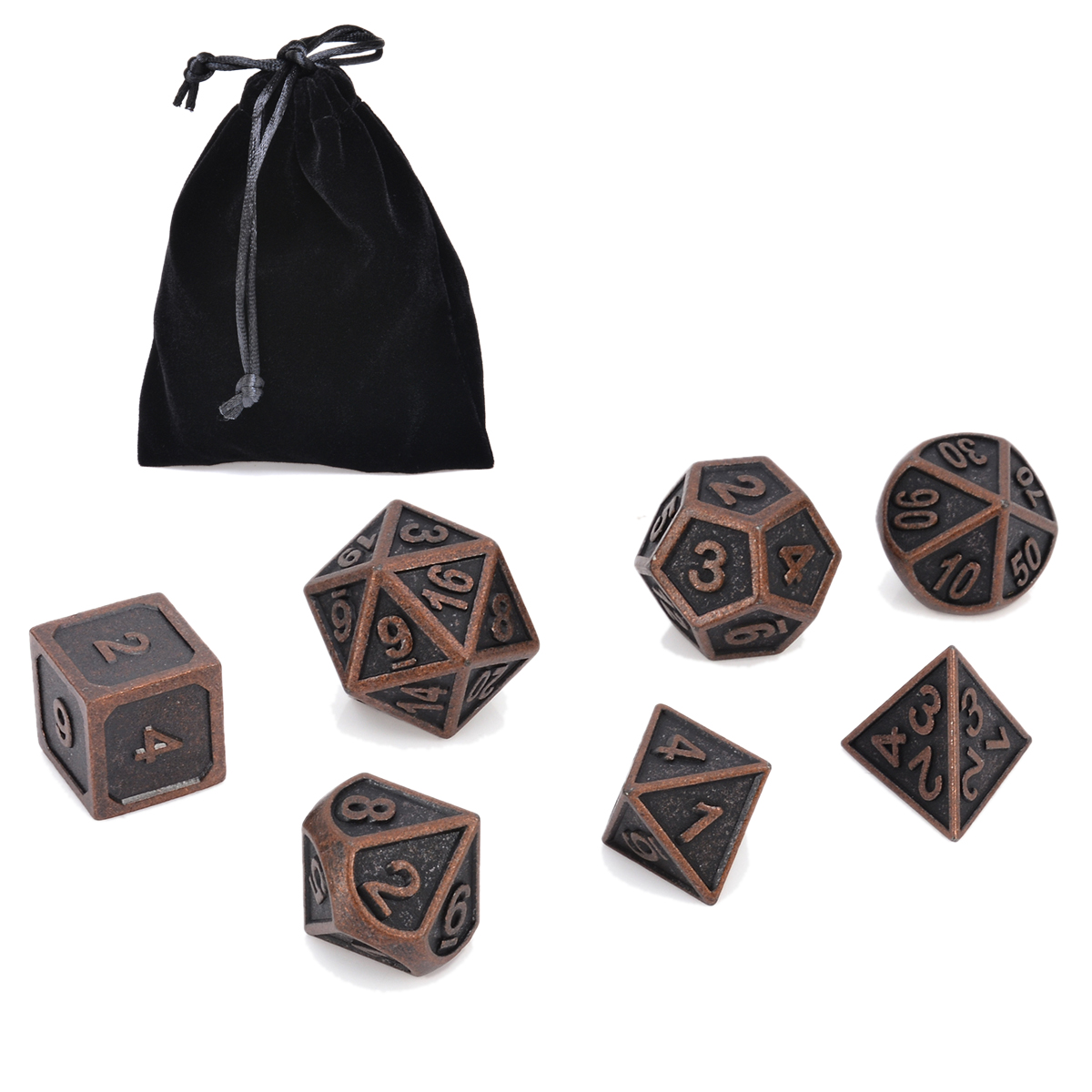 7Pcs Copper Color Retro Metal Polyhedral Dice Dungeons & Dragons MTG SET Table Board Games Outdoor Bar Family Party With Bag top quality 126pcs polyhedral dice set dragons dices dnd rpg mtg table games dice activity multi sided games dices 18 set