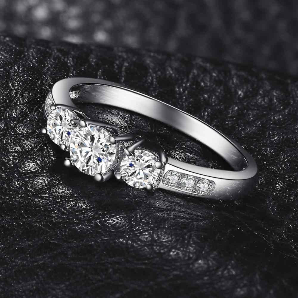 JewelryPalace 3 Pietra DELLA CZ Anello di Fidanzamento 925 Anelli In Argento Sterling per Le Donne Anniversario Anello di Nozze Anelli Gioielli In Argento 925