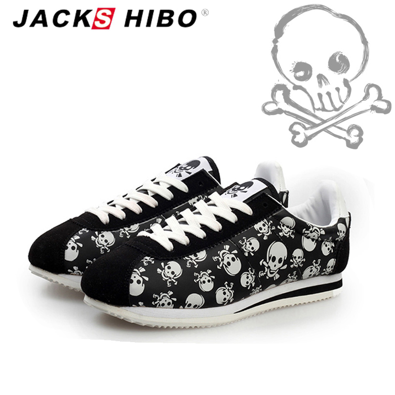 JACKSHIBO Spring Summer Brand Women Casual Shoes Light Originality Skull Heads Print Cortez Hip Hop Female Shoes Zapatos Mujer skull cat print crescent hem top