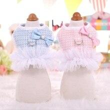 Autumn Dog Harness Tweed Princess Pet Cat Leash Set Breathable Tutu Dress for Small Medium S M L