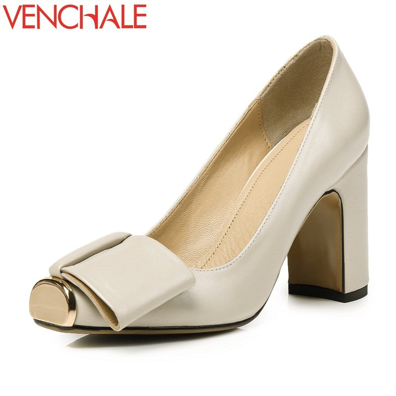 VENCHALE butterfly-knot candy color metal decoration skid resistance female shoes square toe sheepskin thick woman bowtie pumps venchale two heels options sheepskin