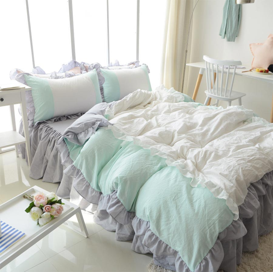 Double beds for girls - Romantic Princess Single Double Cotton Bedding Set Girl Twin Full Queen King Green Home Textile Bed Dress Duvet Cover Pillowcase