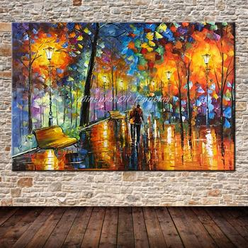 Büyük Handpainted Lover Yağmur Sokak Ağacı Lamba Manzara Yağlıboya