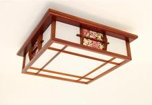 Chinese Solid Wood Lamp Flush Mount Ceiling Fixtures Light Asian Japanese Style Modern LED Wooden Tatami Lamps Mahogany Finish